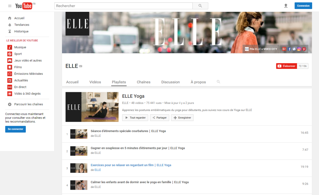ELLE Yoga YouTube