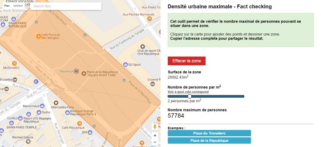 Actu Web - Un outil de fact-checking pour vérifier combien de personnes maximum tiennent dans une zone