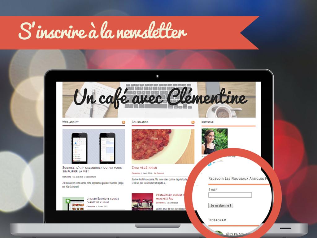inscription - newsletter - un blog avec Clémentine