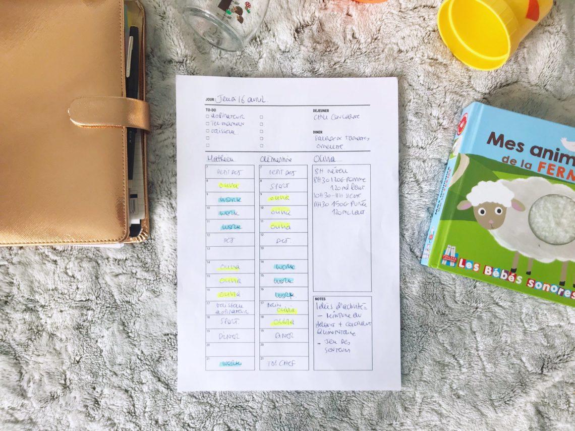 Planning journalier – à imprimer