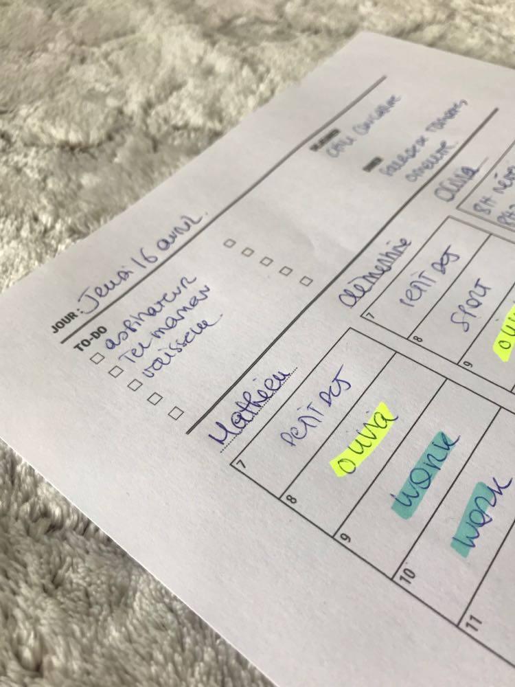 Planning journalier - Un café avec Clémentine